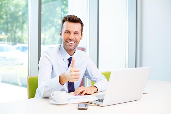 business man happy with his website